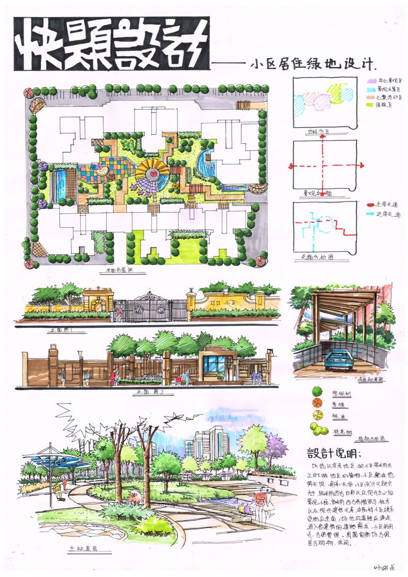 快题设计 小区居住绿地设计 -中国国际室内设计网